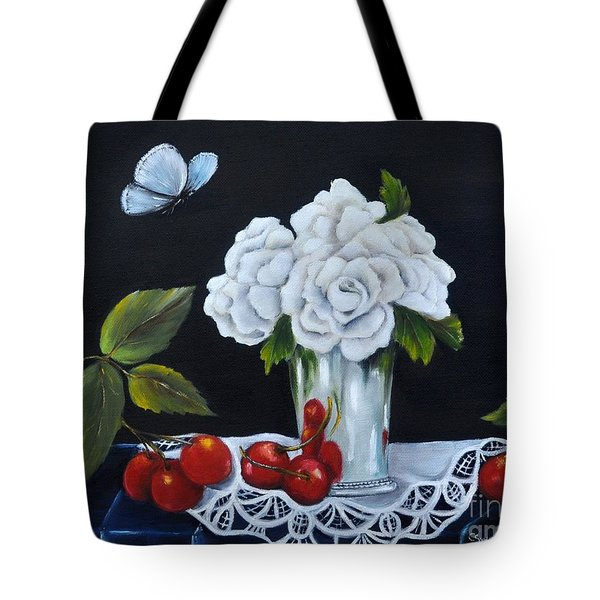 Tote Bag featuring the painting Cherries And Roses by Carol Sweetwood