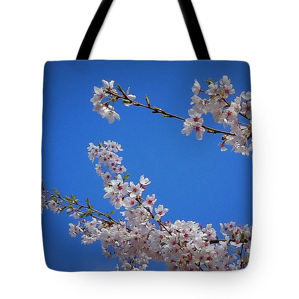 Cherry Blossom Sky Tote Bag by Peter Mooyman