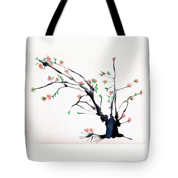 Cherry Tree By Straw Tote Bag by Helaine Cummins