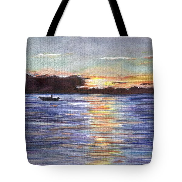 Tote Bag featuring the painting Chesapeake Dusk Boat Ride by Clara Sue Beym
