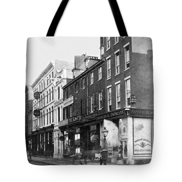 Chestnut Street - South Side Of Philadelphia - C 1870 Tote Bag by International  Images