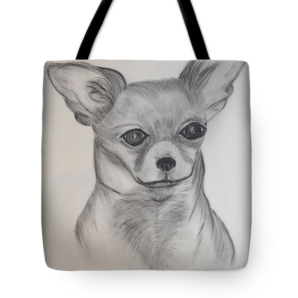 Tote Bag featuring the drawing Chi Chi by Maria Urso