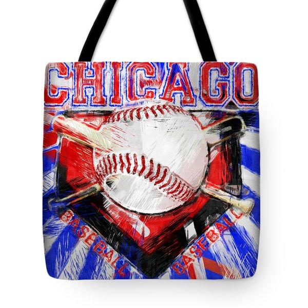 Chicago Baseball Abstract Tote Bag by David G Paul