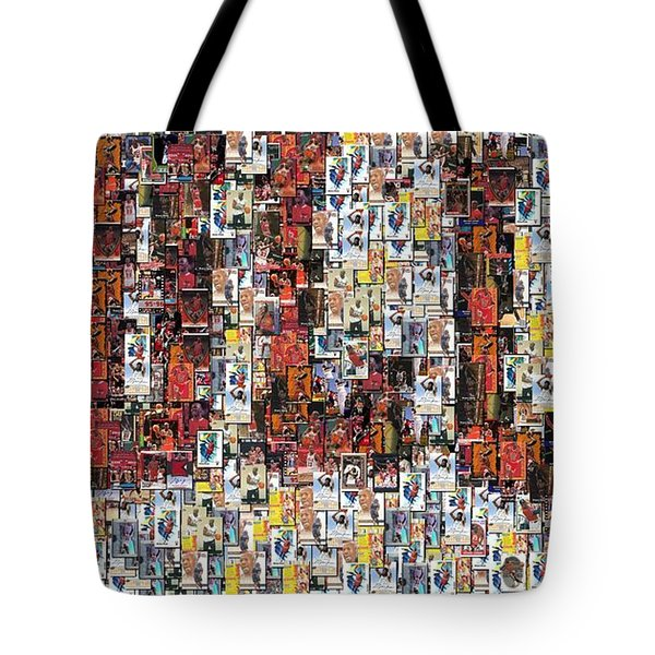 Chicago Bulls Michael Jordan Cards Mosaic Tote Bag by Paul Van Scott