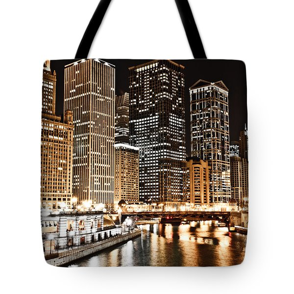 Chicago City Skyline At Night Tote Bag by Paul Velgos