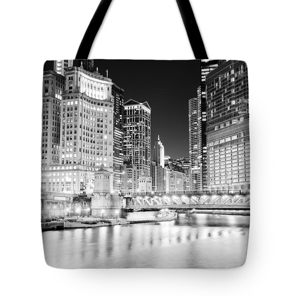 Chicago Cityscape At Night At Dusable Bridge Tote Bag by Paul Velgos
