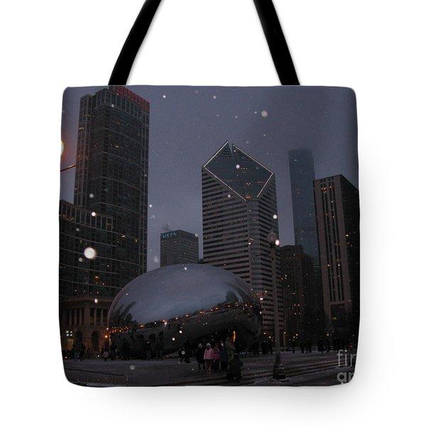 Chicago Cloud Gate At Night Tote Bag by Ausra Huntington nee Paulauskaite