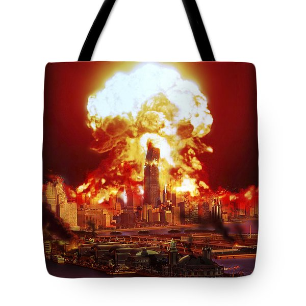 Chicago Disintegrates As A Nuclear Tote Bag by Ron Miller