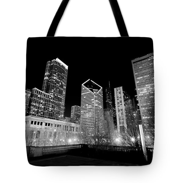 Chicago Downtown At Night  Tote Bag by Paul Velgos