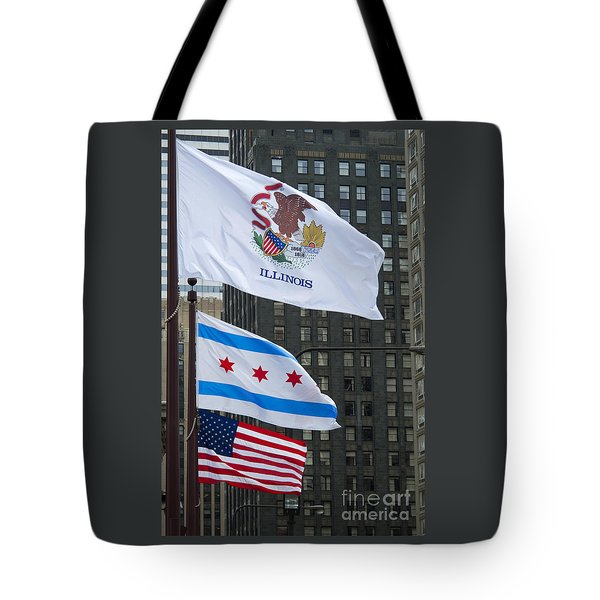 Chicago Flags Tote Bag by Ann Horn