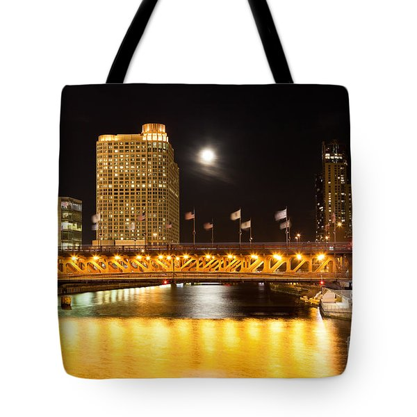 Chicago Michigan Avenue Dusable Bridge At Night Tote Bag by Paul Velgos