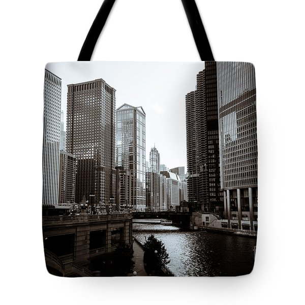 Chicago River Downtown Buildings In Black And White Tote Bag by Paul Velgos