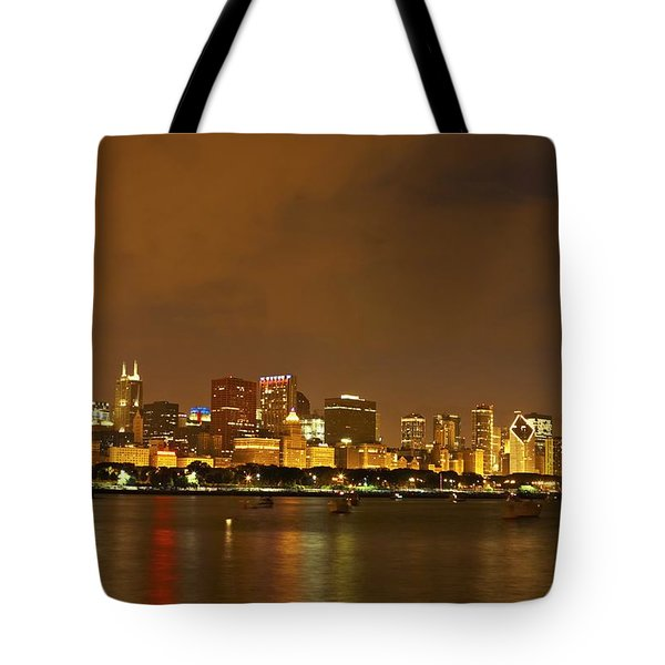 Chicago Skyline At Night Tote Bag by Axiom Photographic