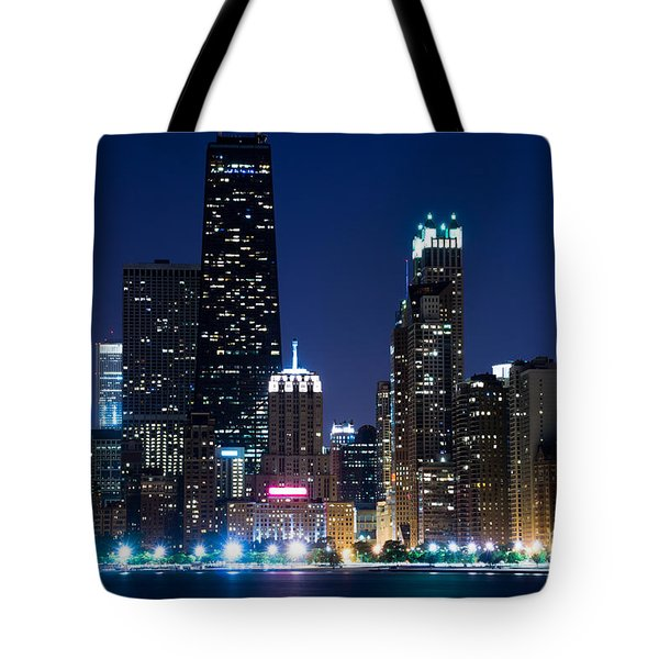 Chicago Skyline At Night With John Hancock Building Tote Bag by Paul Velgos
