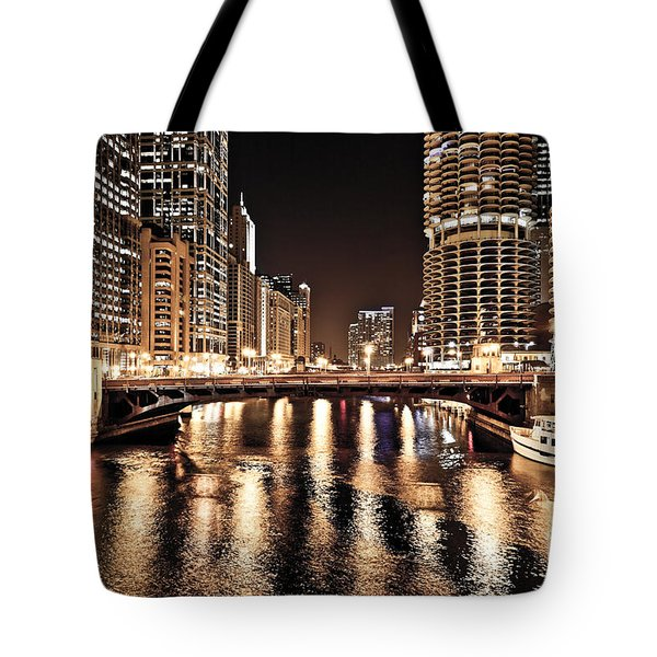Chicago Skyline At State Street Bridge Tote Bag by Paul Velgos