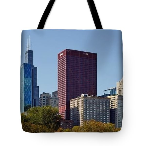 Chicago Skyline From Millenium Park Tote Bag by Christine Till