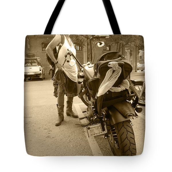 Chick Chopper Cowboy Boots Tote Bag by Kym Backland