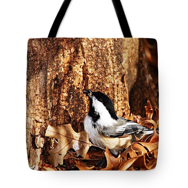 Chickadee With Sunflower Seed Tote Bag by Larry Ricker
