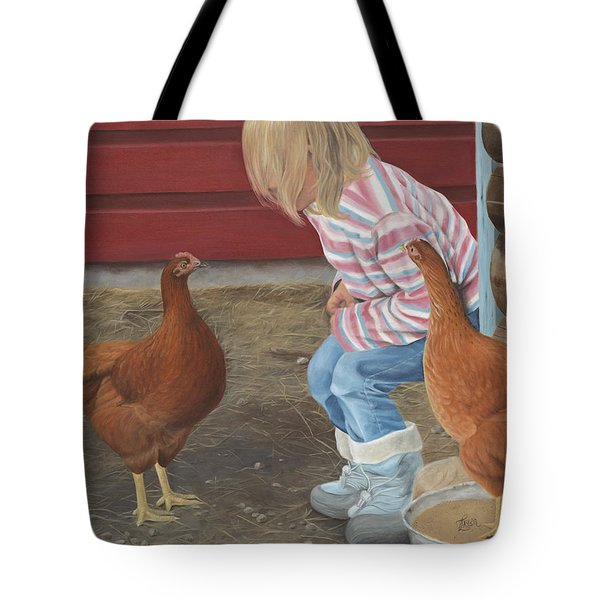 Tote Bag featuring the painting Chicken Talk by Tammy Taylor