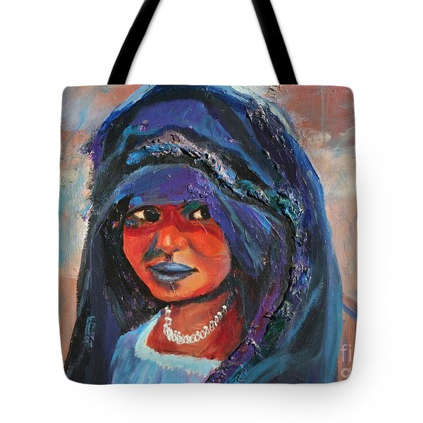 Child Bride Of The Sahara - Close Up Tote Bag by Avonelle Kelsey