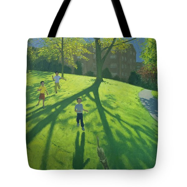 Children Running In The Park Tote Bag by Andrew Macara