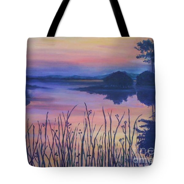 Tote Bag featuring the painting Chincoteaque Island Sunset by Julie Brugh Riffey
