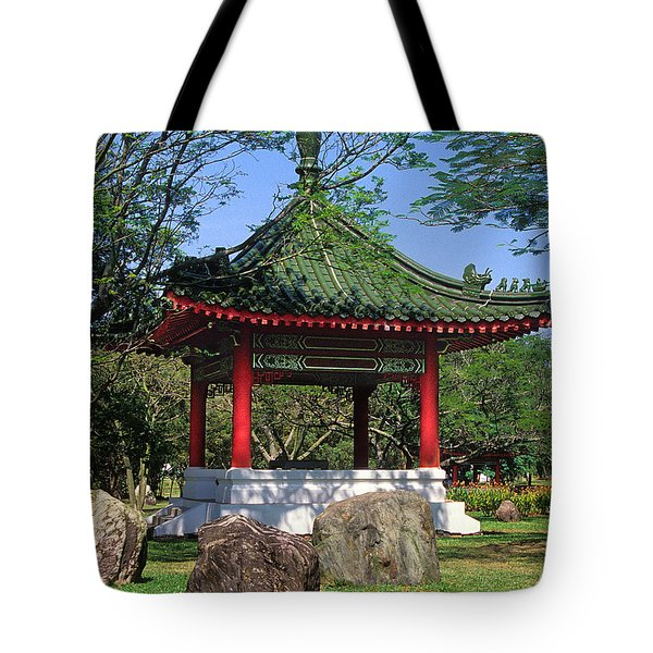 Tote Bag featuring the photograph Chinese Gardens Garden Pavilion 21b by Gerry Gantt