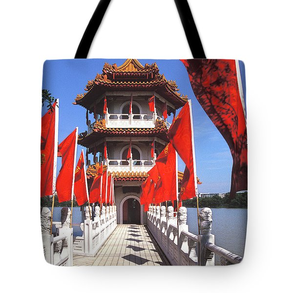 Tote Bag featuring the photograph Chinese Gardens  North Pagoda 19c by Gerry Gantt
