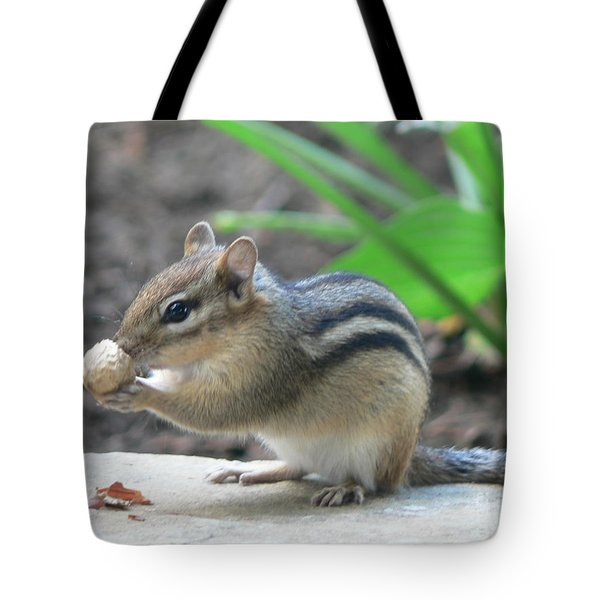 Tote Bag featuring the photograph Chipmunk by Laurel Best