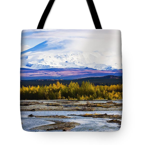 Chistochina River And Mount Sanford Tote Bag by Yves Marcoux
