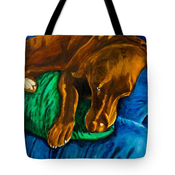 Chocolate Lab On Couch Tote Bag by Roger Wedegis