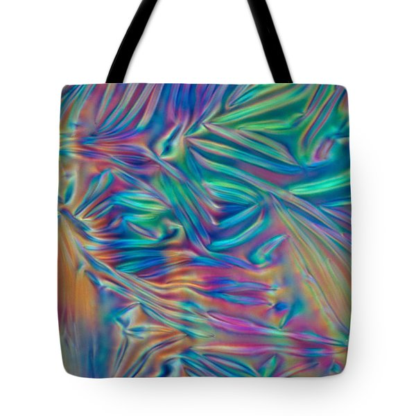 Cholesteric Liquid Crystals Tote Bag by Michael Abbey and Photo Researchers