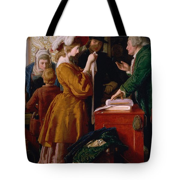 Choosing The Wedding Gown From Chapter 1 Of 'the Vicar Of Wakefield' Tote Bag by William Mulready