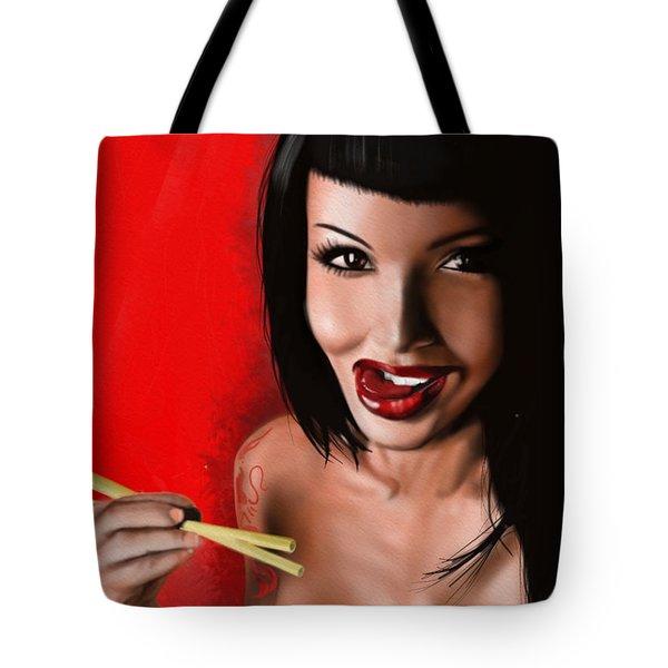 Chopsticks Tote Bag by Pete Tapang