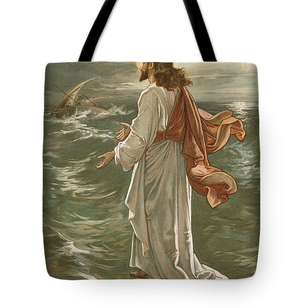 Christ Walking On The Waters Tote Bag by John Lawson