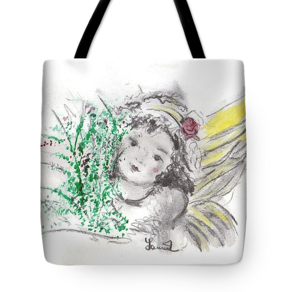 Tote Bag featuring the mixed media Christmas Angel by Laurie Lundquist