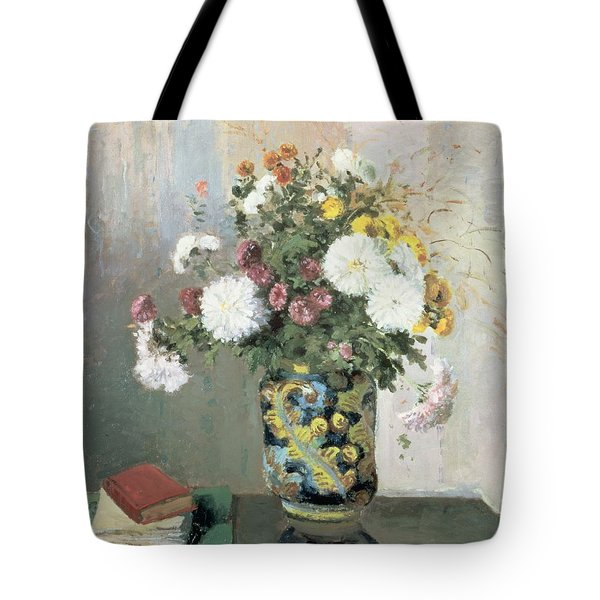 Chrysanthemums In A Chinese Vase Tote Bag by Camille Pissarro