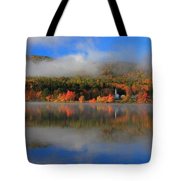 Church Across The Lake-panoramic Tote Bag