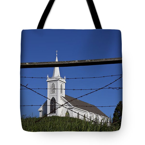 Church And Barbed Wire Tote Bag by Garry Gay