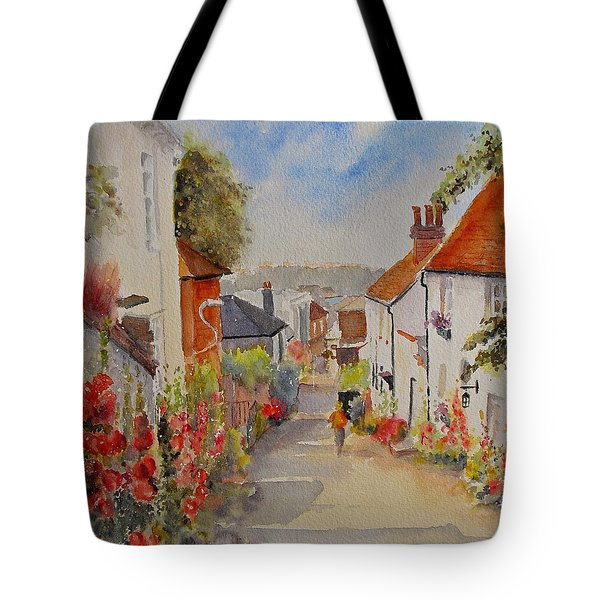 Tote Bag featuring the painting Church Hill - Hythe- Uk by Beatrice Cloake