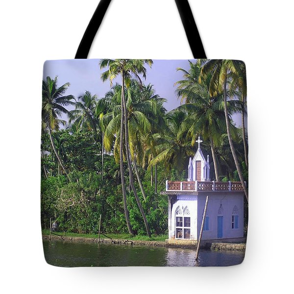 Church Located On A Coastal Lagoon In Kerala In India Tote Bag