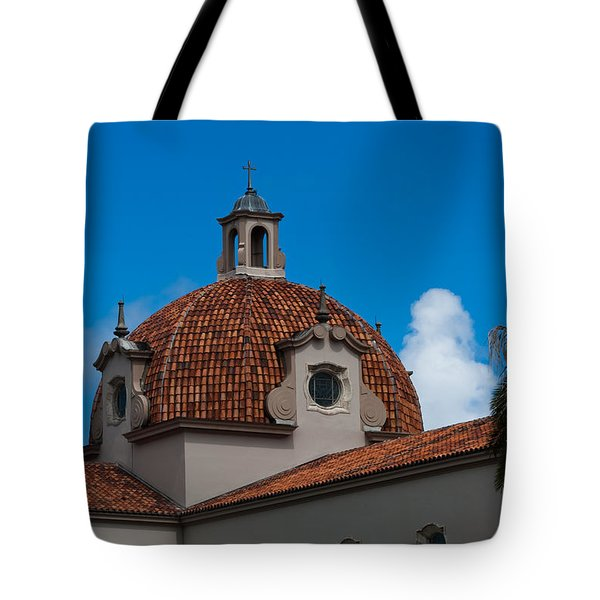 Tote Bag featuring the photograph Church Of The Little Flower Dome And Cross by Ed Gleichman