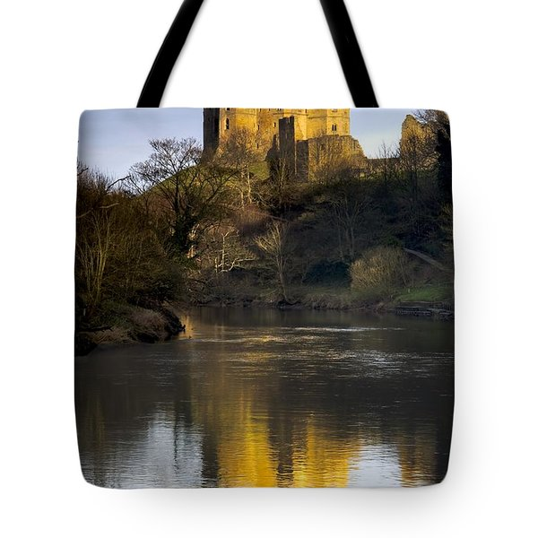 Church Reflection In Water, Warkworth Tote Bag by John Short