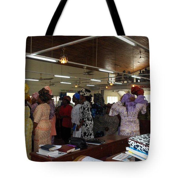 Church Service In Nigeria Tote Bag by Amy Hosp