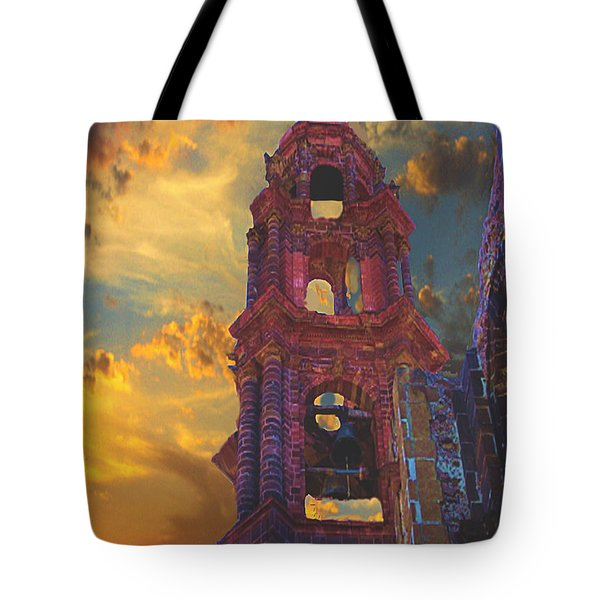 Tote Bag featuring the photograph Church Tower In San Miguel De Allende by John  Kolenberg