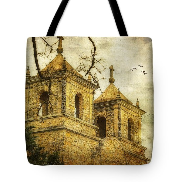 Tote Bag featuring the photograph Church Towers by Joan Bertucci