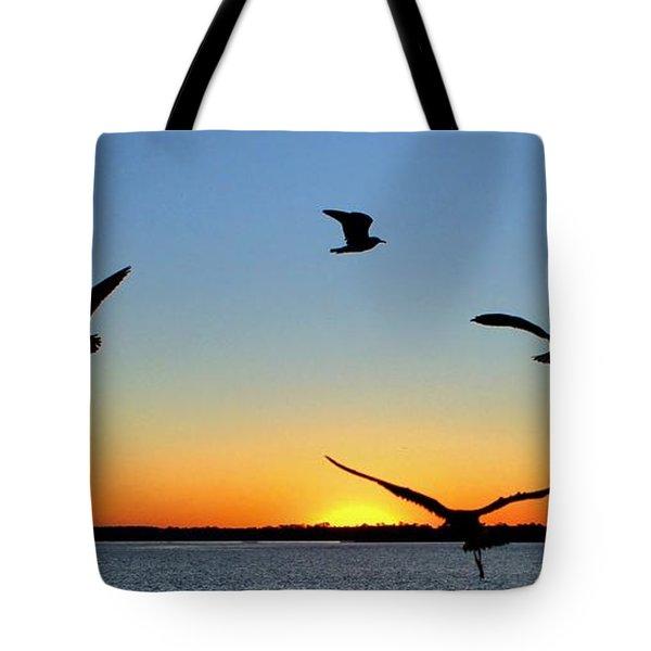 Circle Meeting At Sunrise Tote Bag by Benanne Stiens
