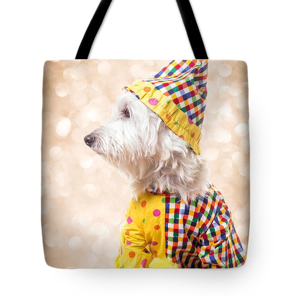 Circus Clown Dog Tote Bag by Edward Fielding