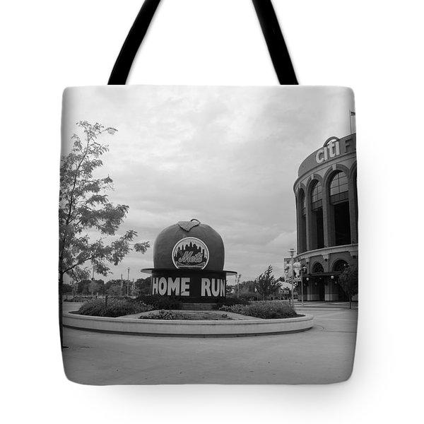 Citi Field In Black And White Tote Bag