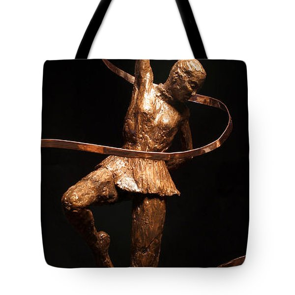 Citius Altius Fortius Olympic Art Gymnast Over Black Tote Bag by Adam Long